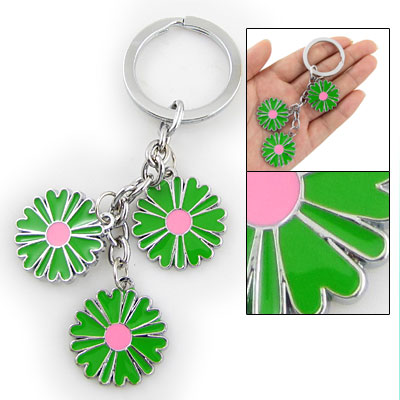 Metal Pink Green Dangle Flower Pendant Key Ring Keychain
