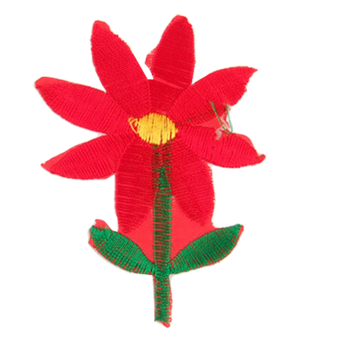 Green Leaves Red Flower Embroidered Fabric Patch Iron On Applique