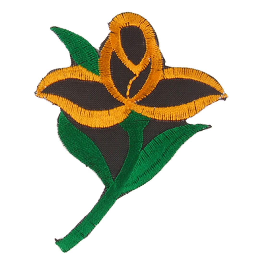 Green Leaf Orange Flower Iron On Patch Embroidered Applique