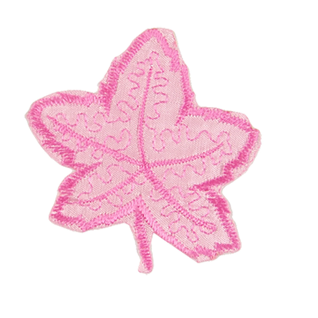 Clothes Decoration Pink Maple Leaves Badge Embroidered Applique