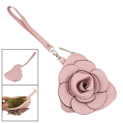 Ladies Inner Keyring Faux Leather 3D Flower Purse Pink