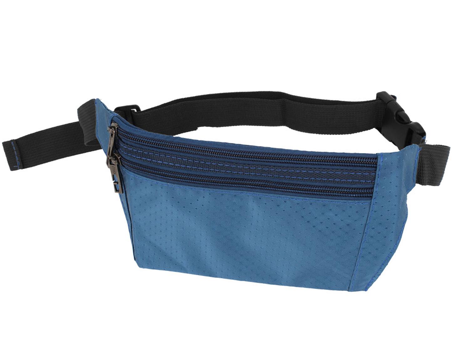 Man Argyle Print 3 Zipper Pockets Waist Pouch Steel Blue