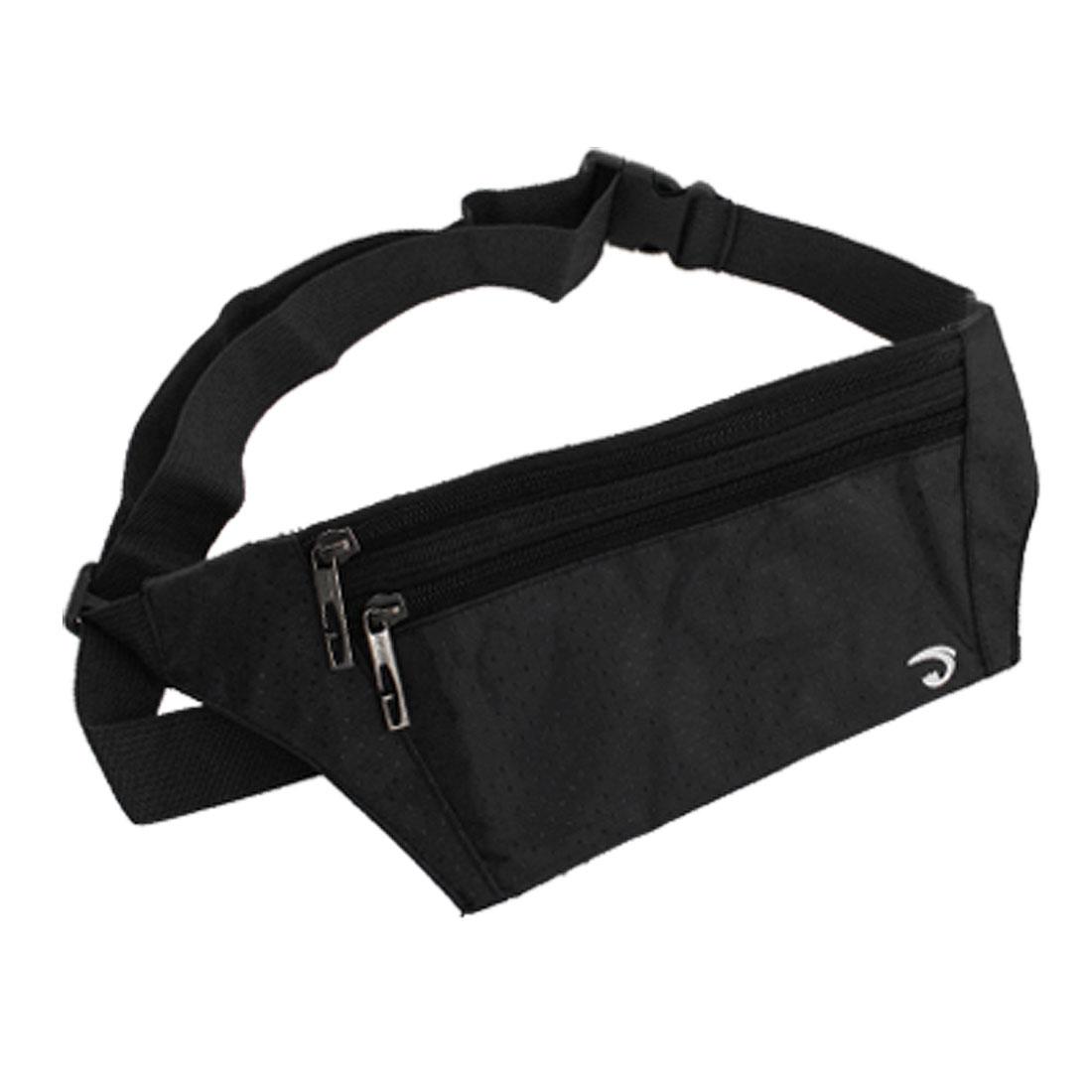 Black Argyle Print 3 Zipper Pockets Nylon Waist Bag Pouch for Man