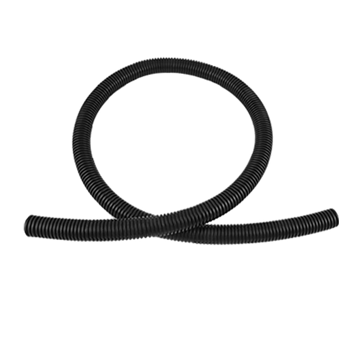 21.2mm Dia Black Plastic Corrugated Conduit Tube 1M NEW