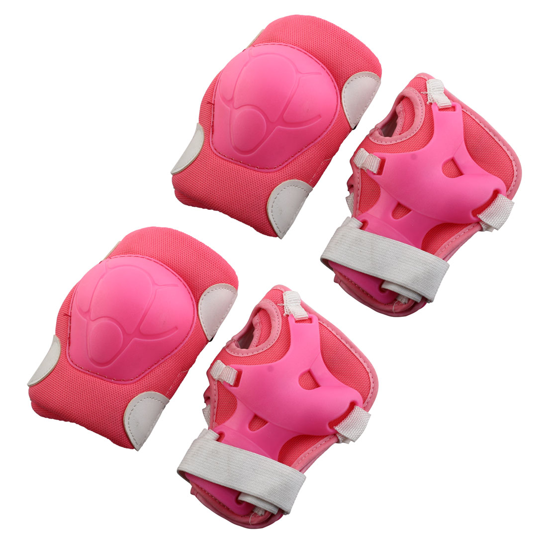 Children Detachable Fastener Elbow Knee Palm Protectors Rose Pink