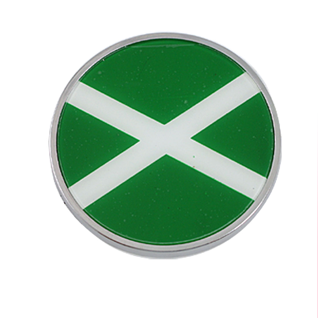 White Cross Wrong Sign Green Silver Tone Round Emblem Badge for Car