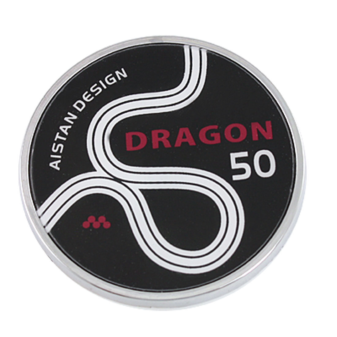 Car Round Shaped Red Dragon Word Print 3D Emblem Badge