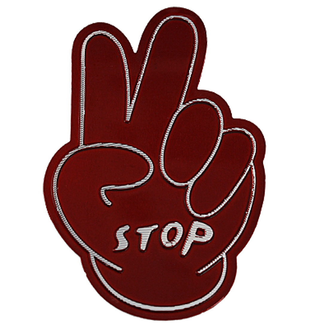 V-sign Stop Symbol Adhesive Back Sticker Decal Red for Auto Car