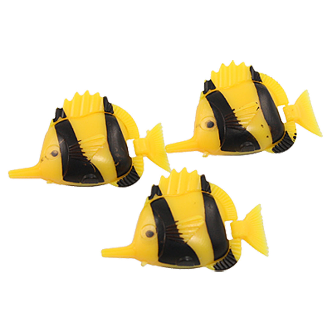 3 Pcs Flexible Tail Swimming Yellow Black Plastic Fish for Aquarium