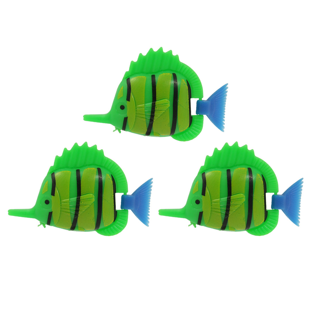 3 Pcs Aquarium Striped Flexible Swimming Plastic Fish Decoration