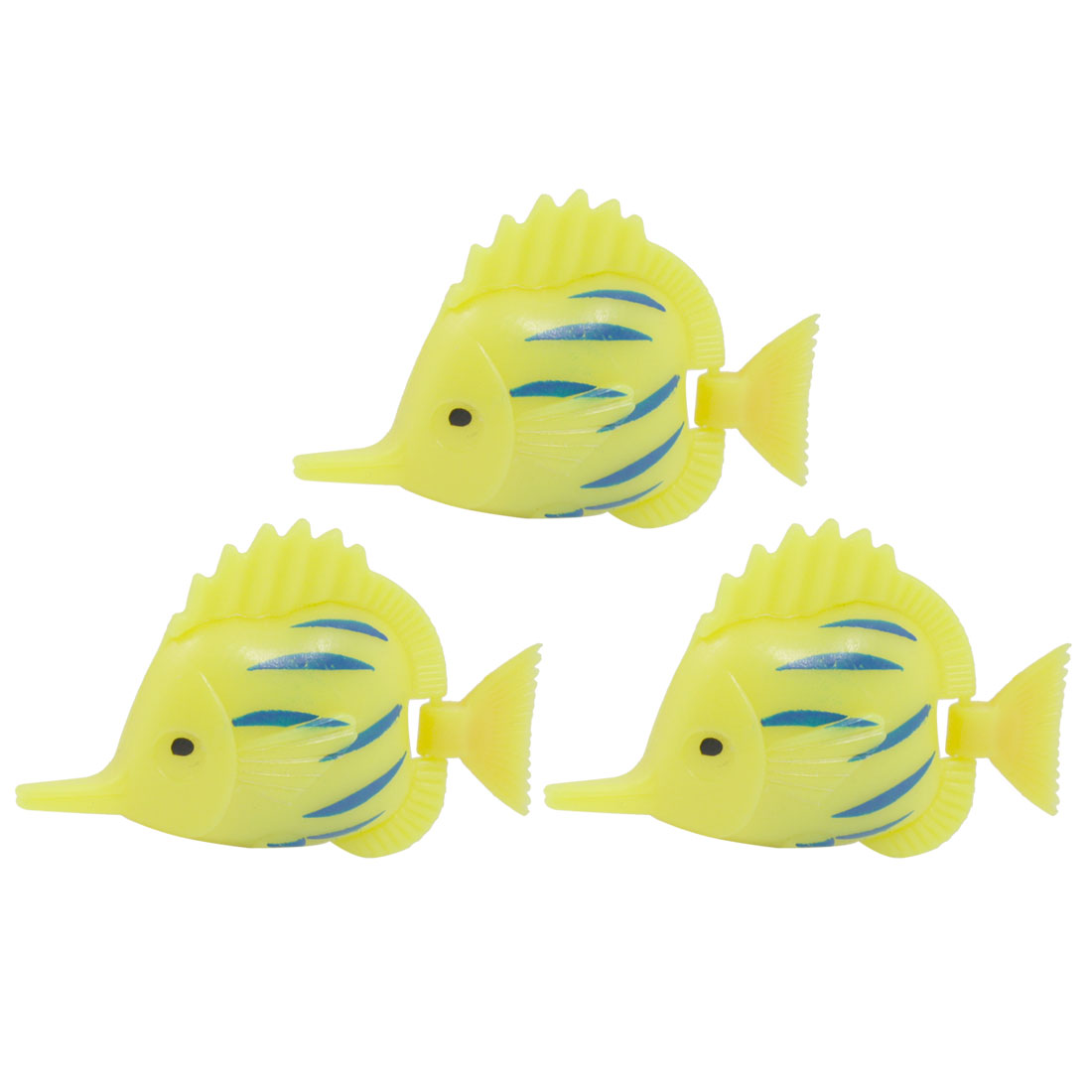 3 Pcs Aquarium Tank Artificial Wiggling Tail Yellow Blue Plastic Fish