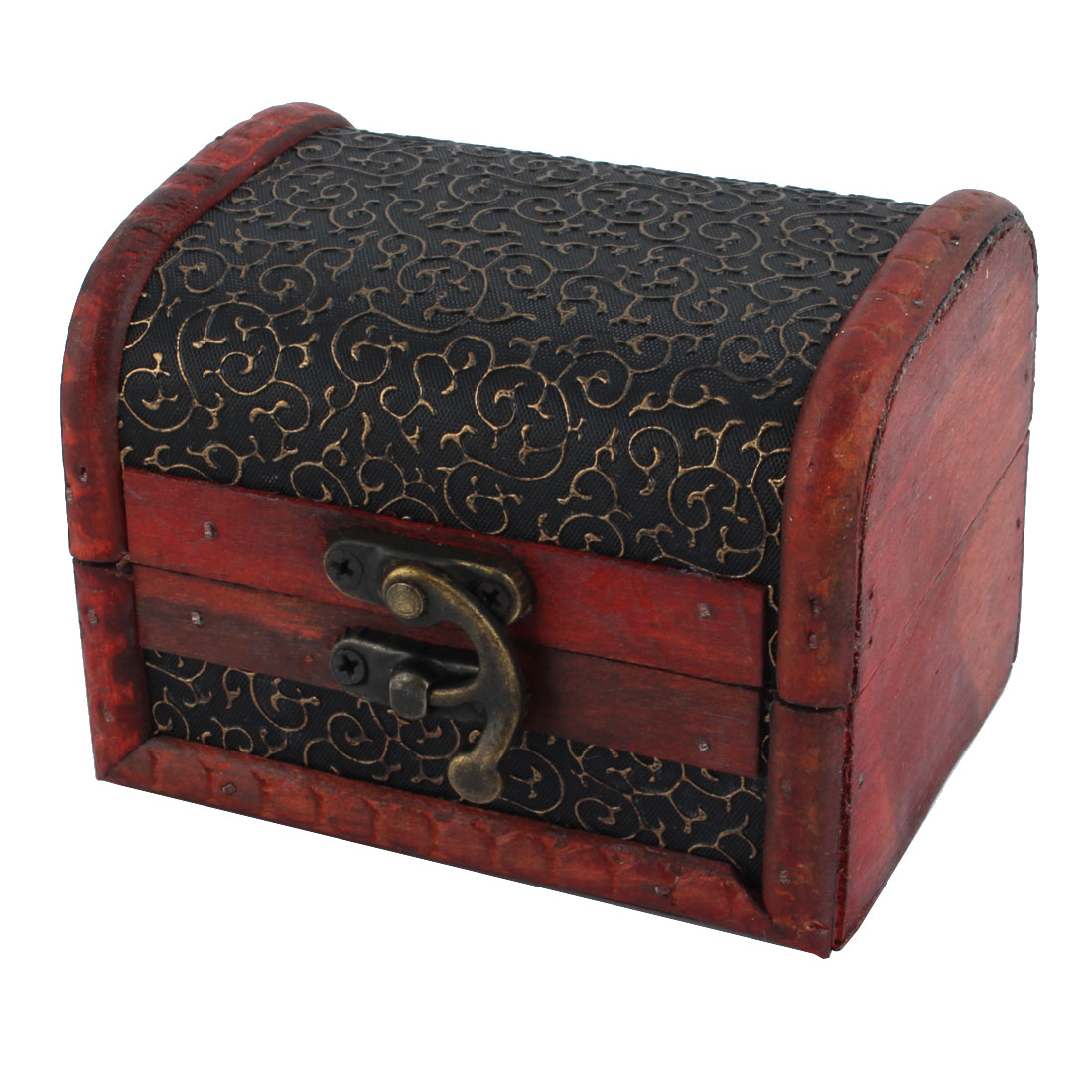 Bronze Tone Embossed Flower Old Stye Wooden Jewelry Box Case
