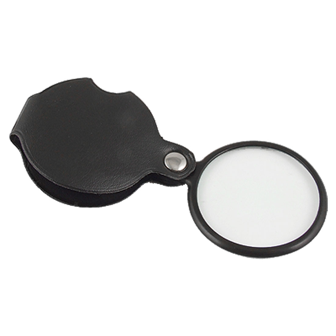 50mm Lens Diameter 5X Round Magnifying Glass w Black Cover