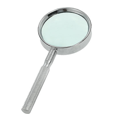 Silver Tone Nonslip Grip 4X Metal Magnifier Magnifying Glass