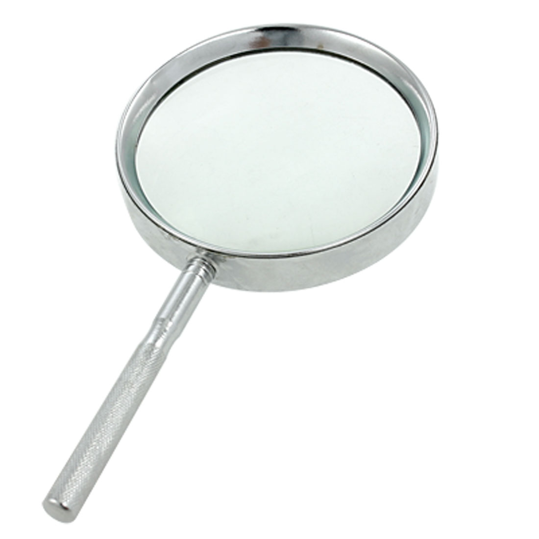 Metal Frame Silver Tone Nonslip Grip 4X Magnifying Glass