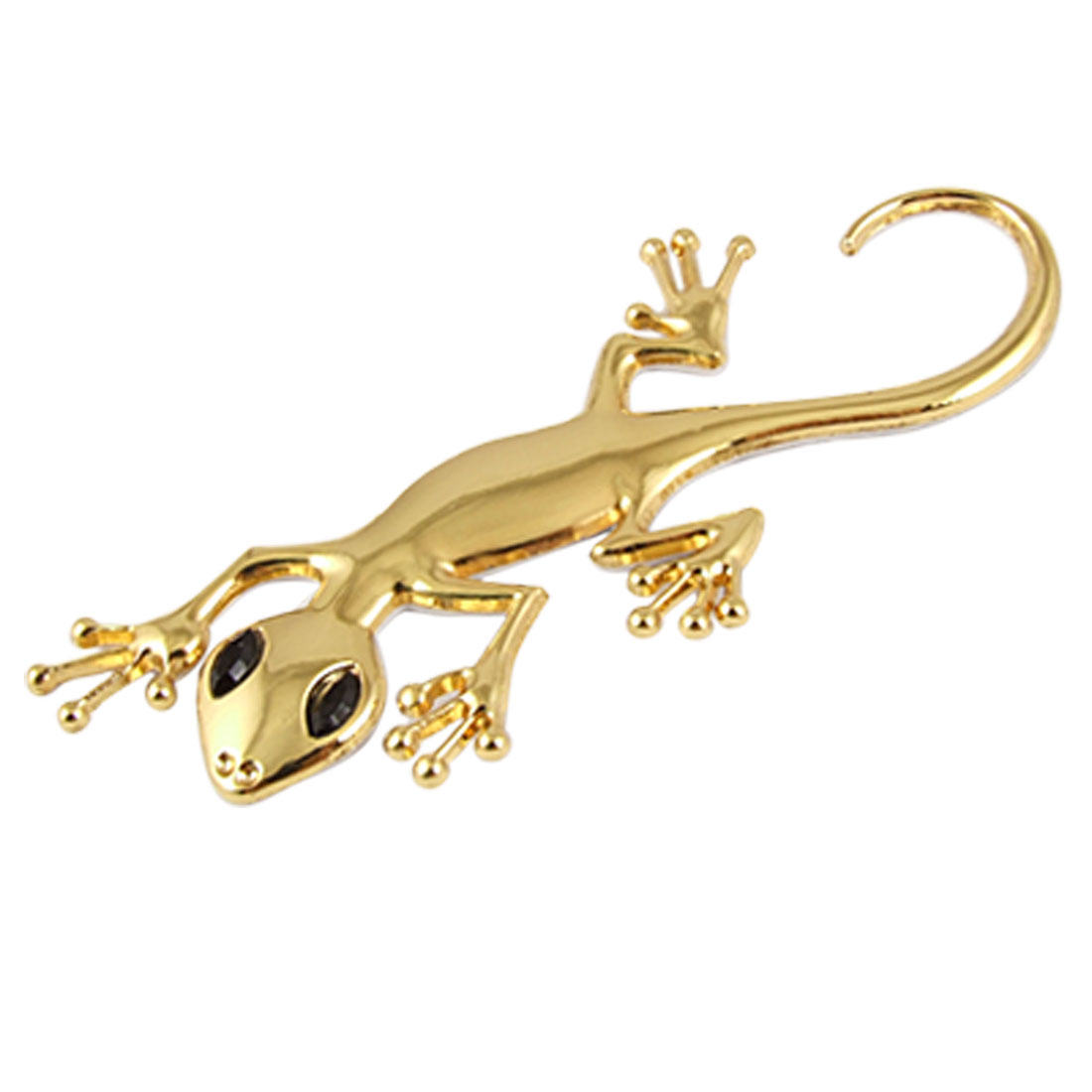 Gold Tone 3D Gecko Shaped Emblem Badge Self-adhesive Sticker for Car