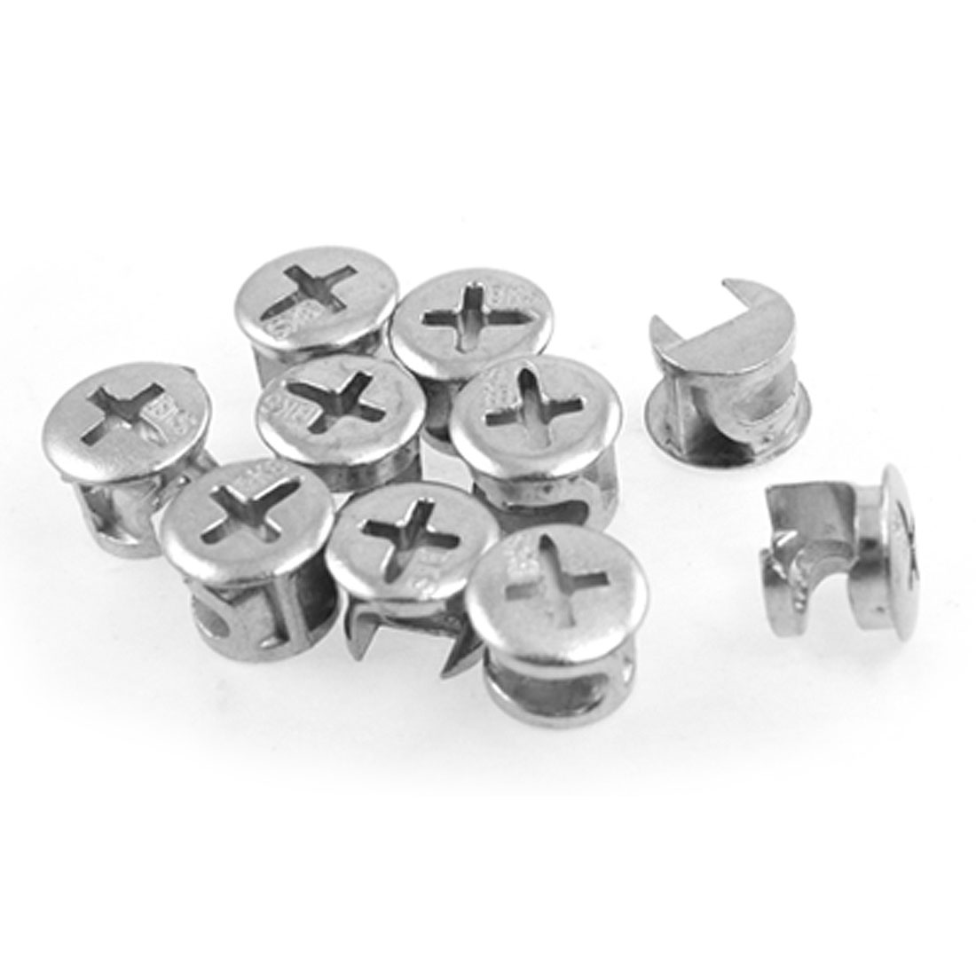 "10 Pcs 13.4mm 0.527"" Dia Head Furniture Connect Cam Fittings"