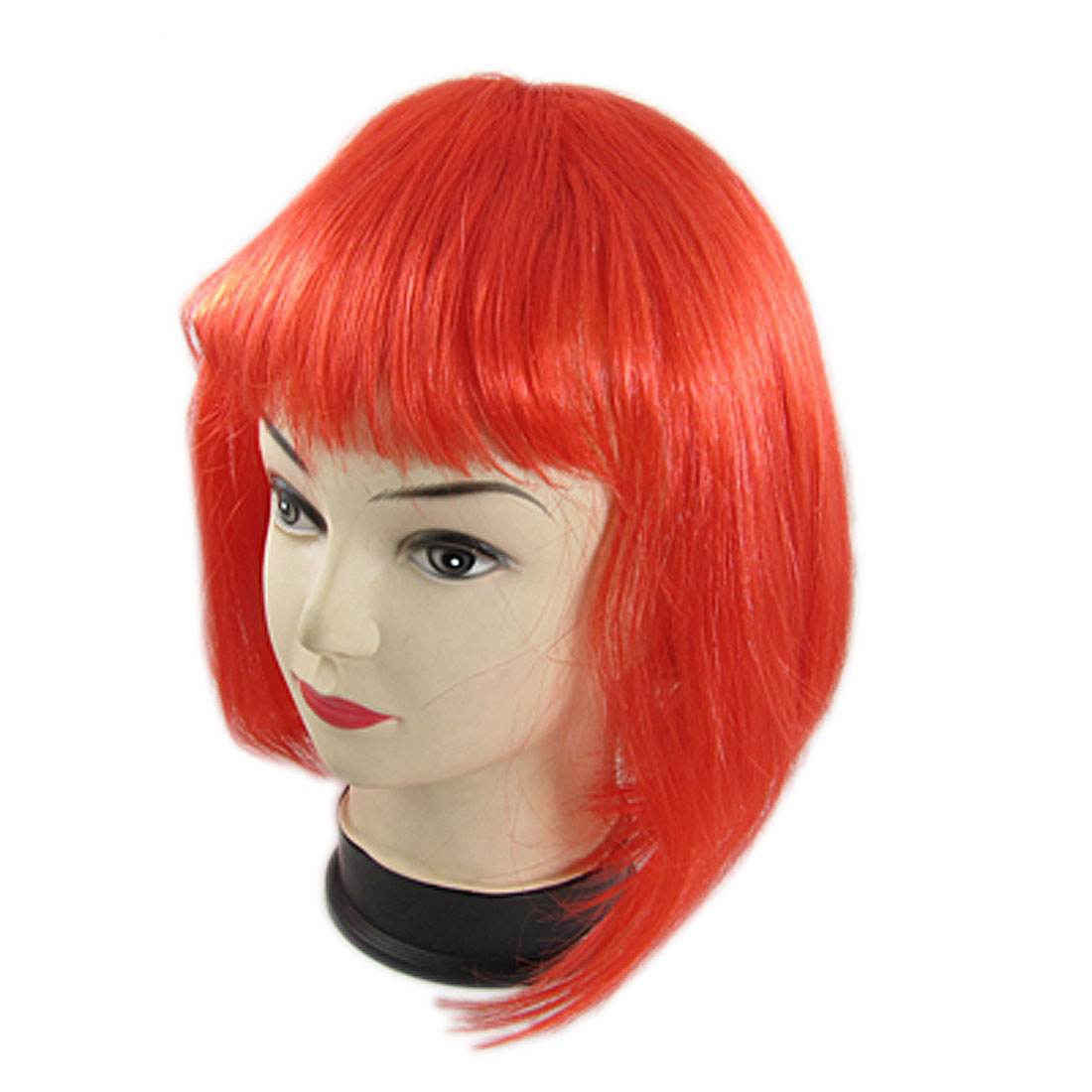 Cosplay Party Red Short Bob Style Straight Hair Wig w Bangs