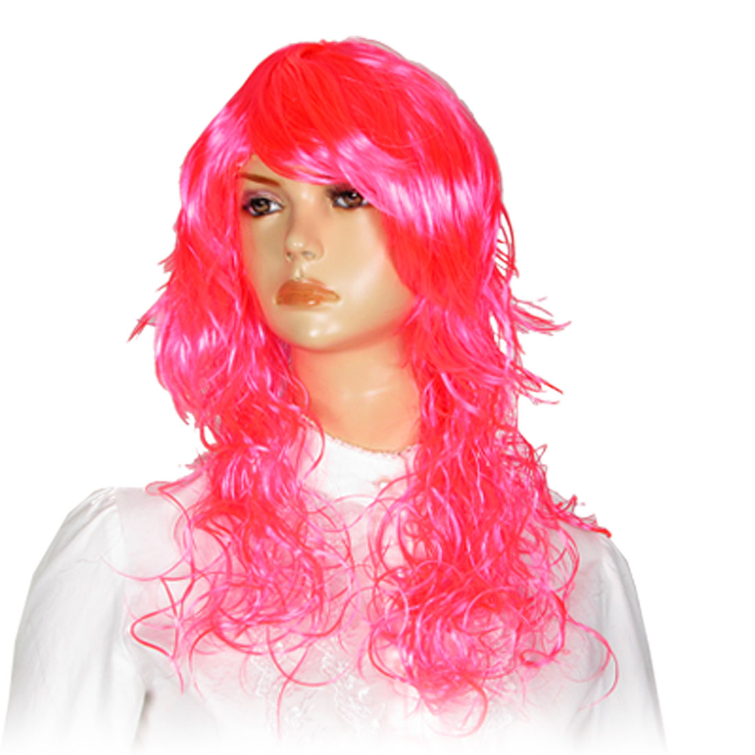 Cosplay Pink Curly Wavy Hair Wig Hairpiece w Bangs