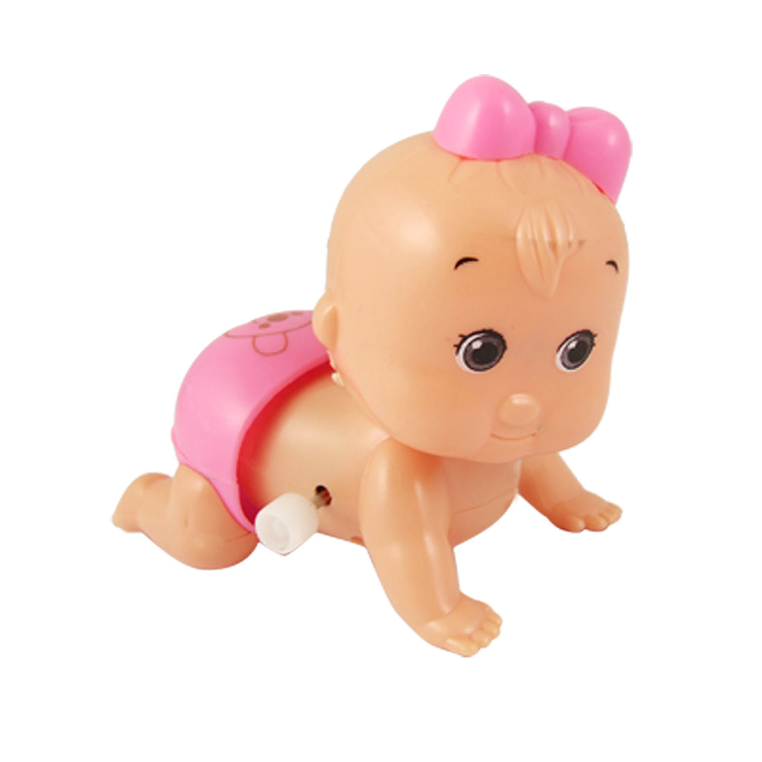 Pink Beige Plastic Cochain Crawling Toy Doll for Kids Children
