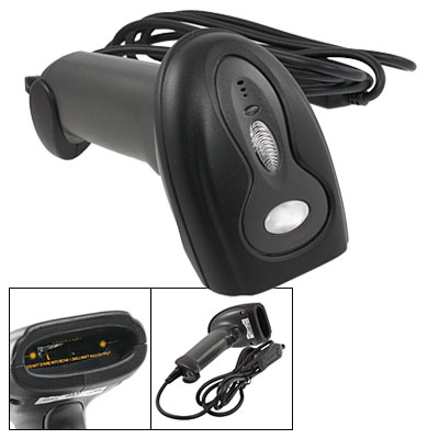2M USB Cable Handheld Black Gray Plastic Barcode Scanner Reader