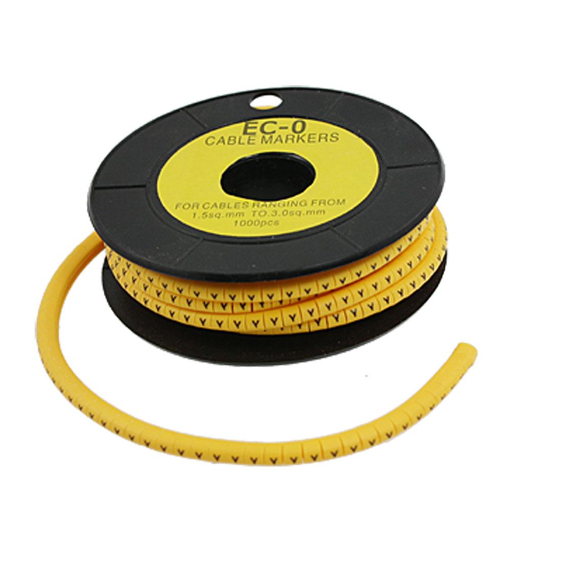 1000 Pcs 3.5mm Yellow Flexible PVC EO-0 Cable Clip Marker