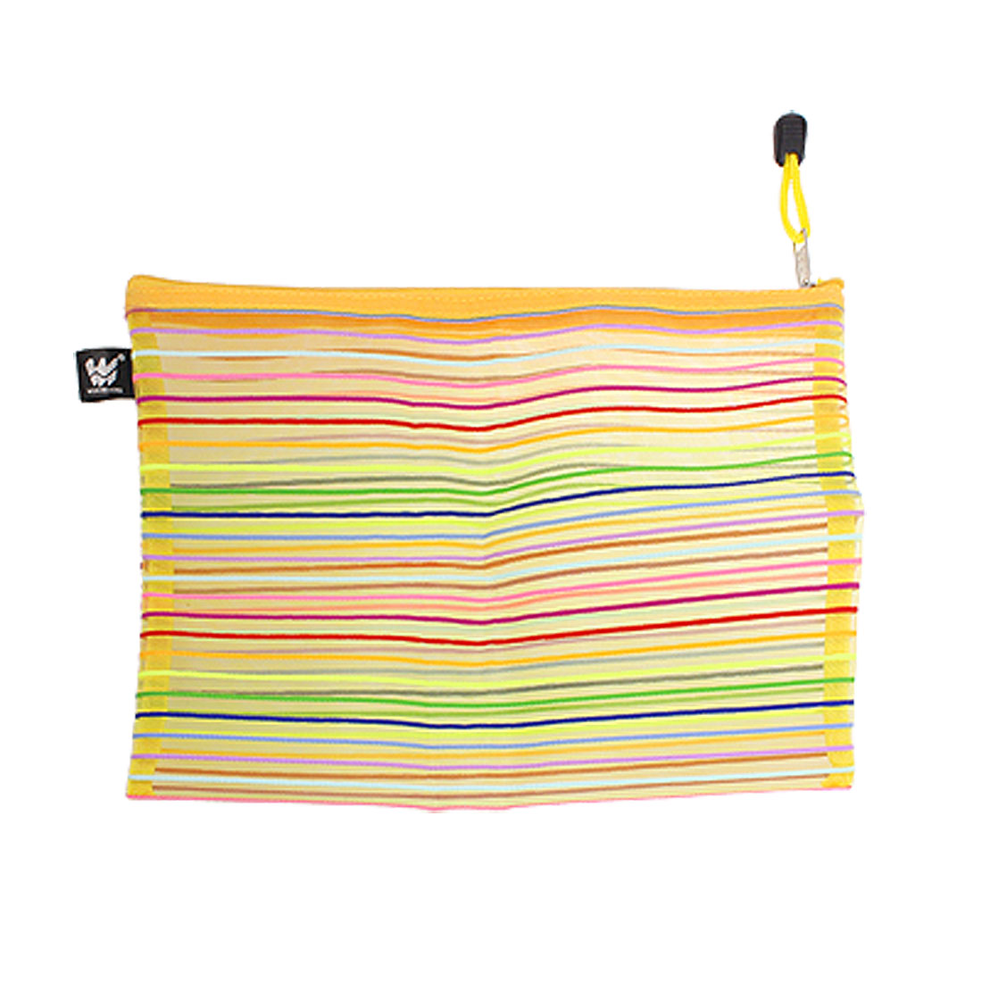 Meshy Style Colorful Stripe Pattern Sheer Nylon Zipper File Bag Holder