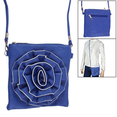 Women Zipper Closure Flower Shoulder Messenger Purse Bag Blue