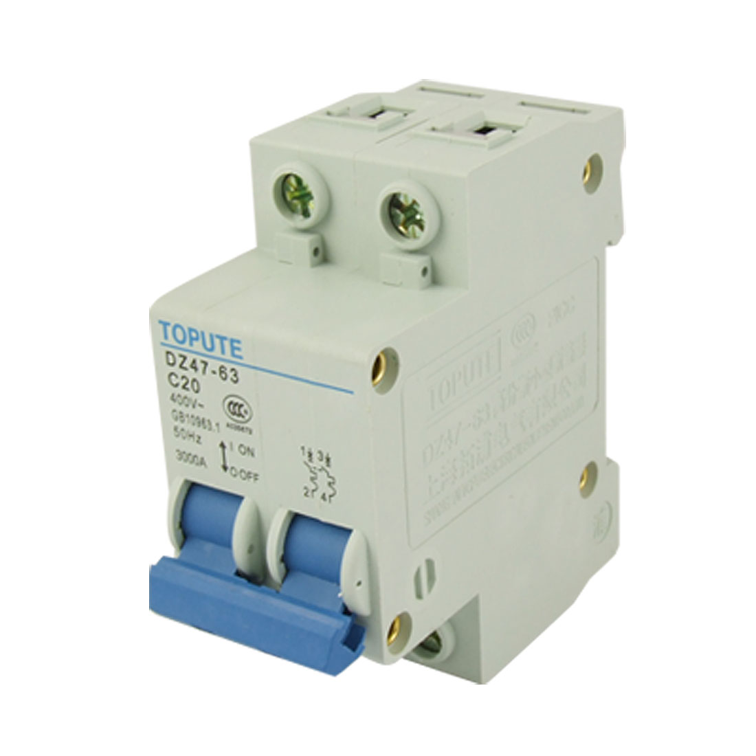 AC 400V Rated Current 20A Double Pole MCB Air Circuit Breaker