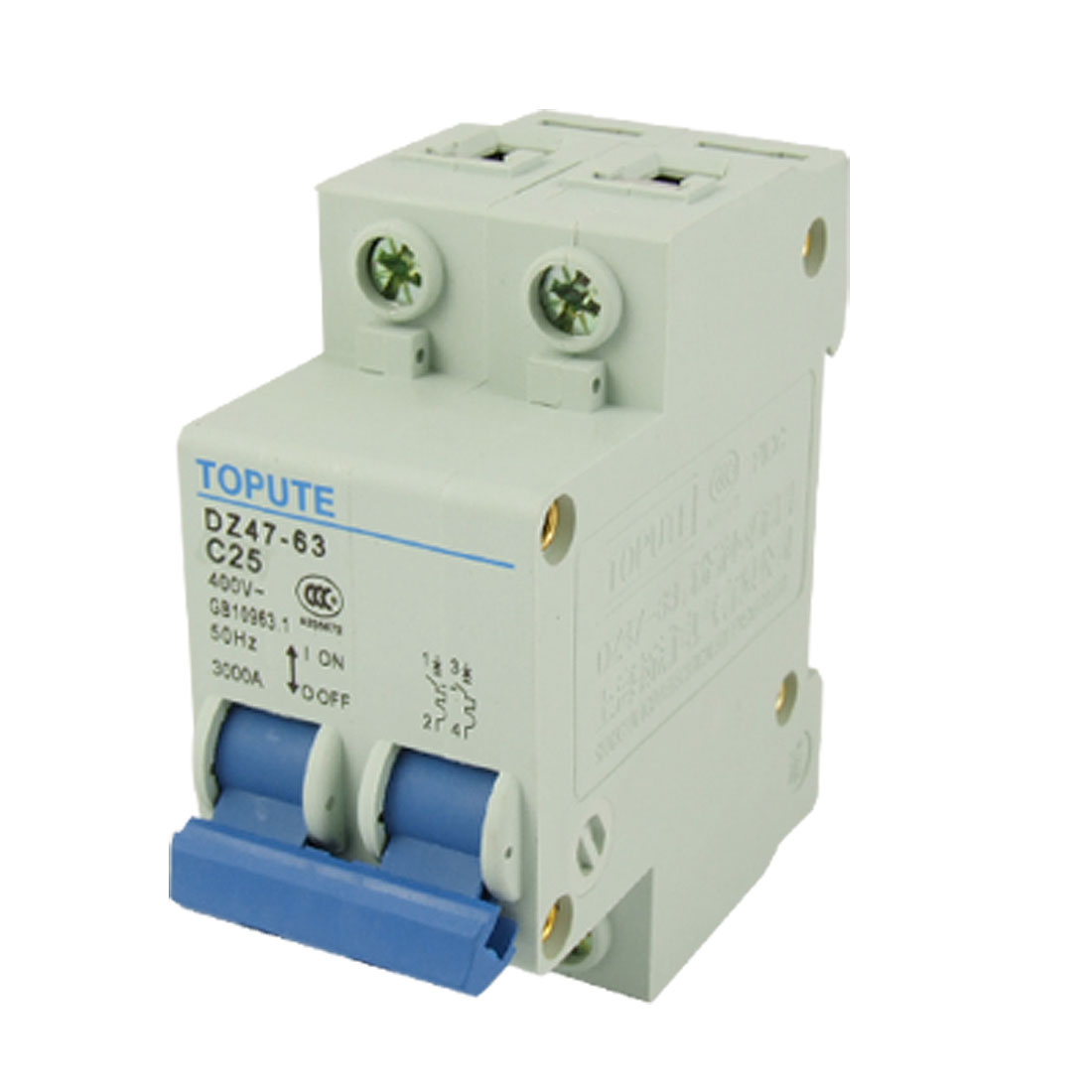 3000A Breaking Capacity 25A Rated Current Double Pole MCB Mini Circuit Breaker