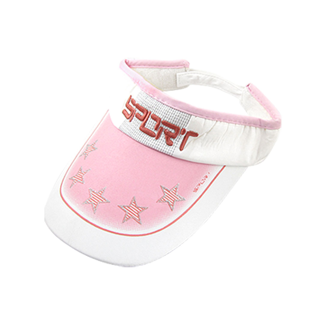 Women Glitter Powder Star Print Adjustable Band White Pink Sun Visor Hat