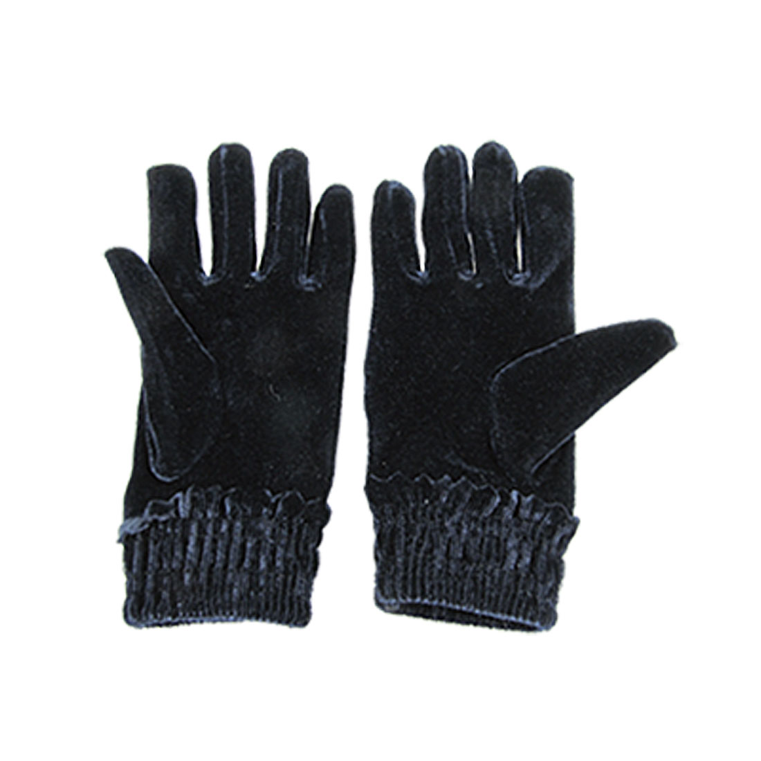 Women Ruffled Hem Dark Blue Velvet Full Finger Gloves