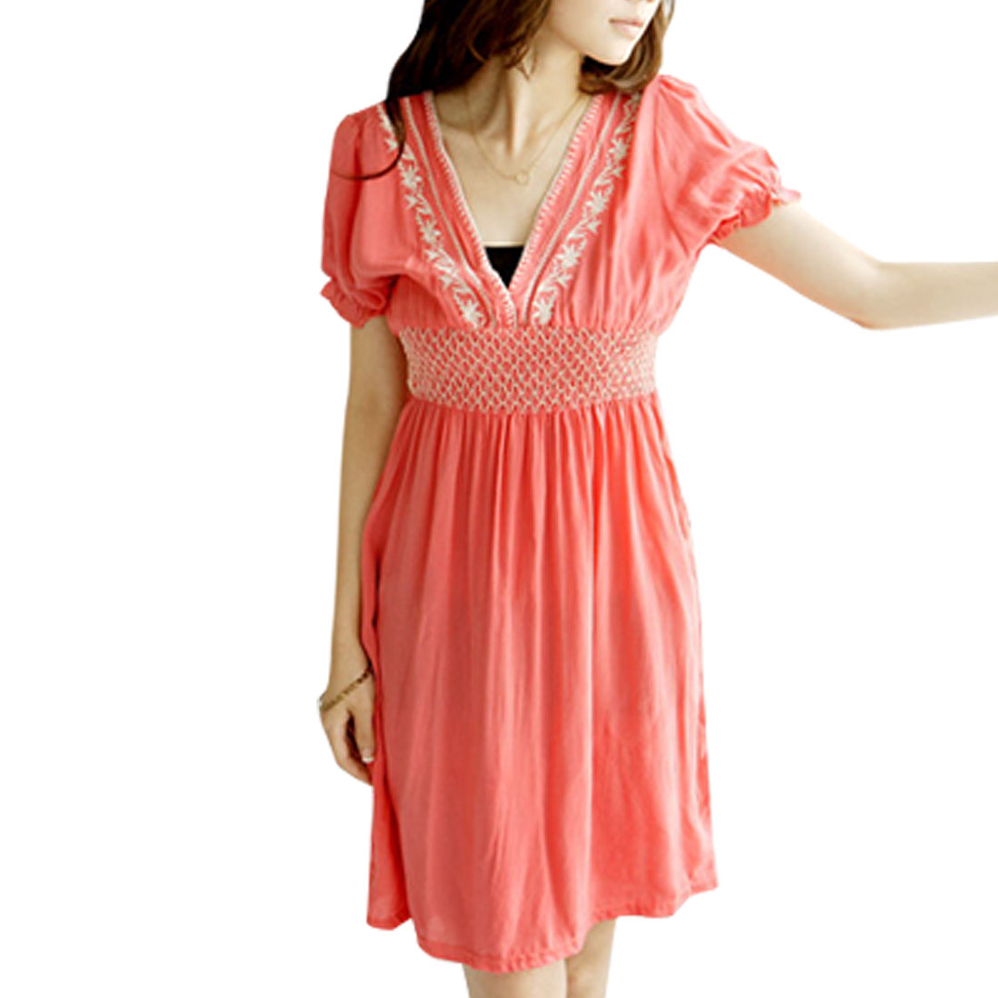 Ladies Watermelon Red Smocked Waist Short Sleeves Dress XS