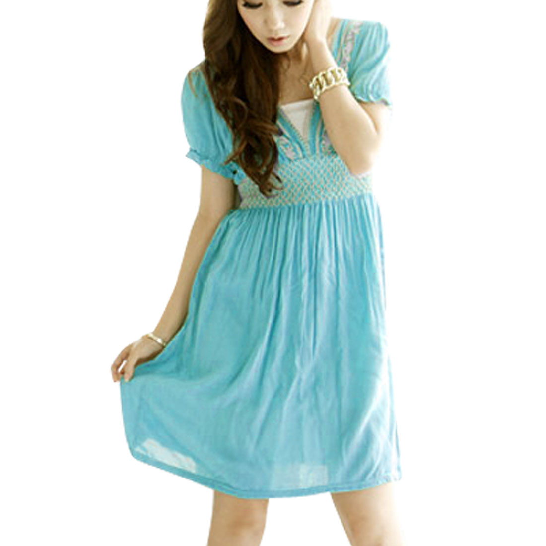 Ladies Ruched Short Sleeve Crossover V Neck Dress Cyan XS