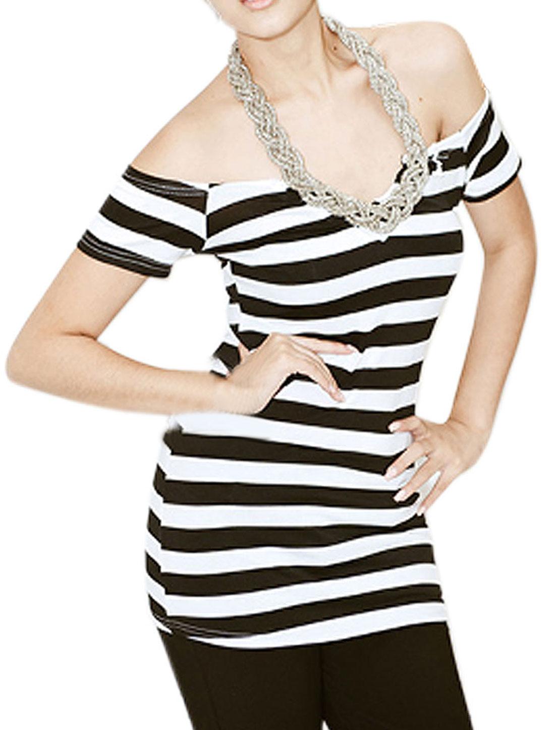Ladies Striped Off Shoulder Braided Necklace Halter Shirt
