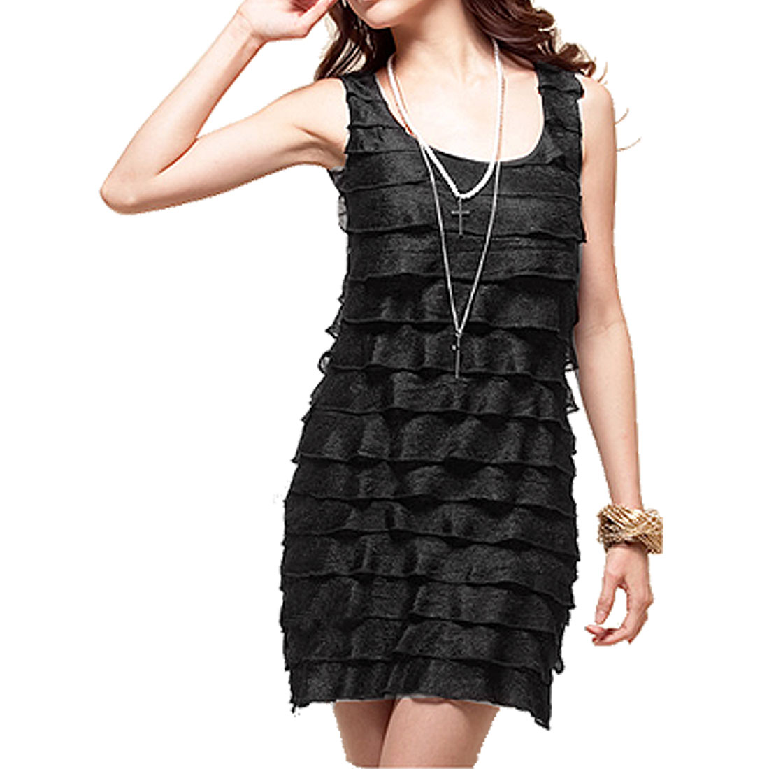 XS Solid Black Lining Meshy Tiered Tunic Tank Top for Ladies