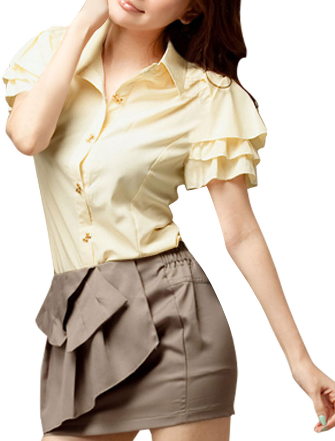 Ladies Tiered Cap Sleeve Bowtie Shape Button-down Chiffon Shirt