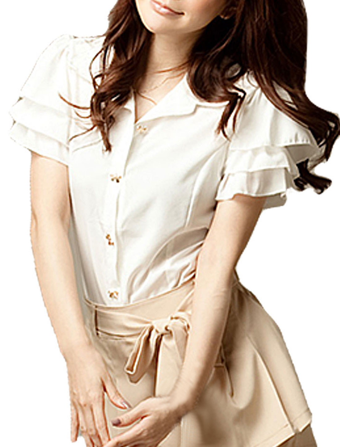 Ladies White Ruffled Tiered Cap Sleeves Chiffon Shirt XS
