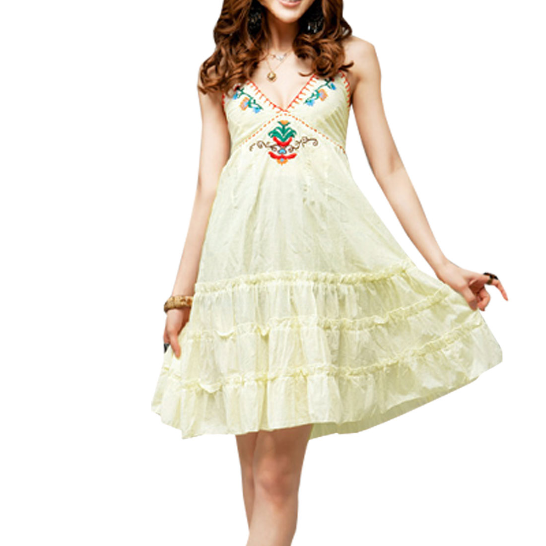 Lady Embroidery Decor Front Deep V Neck Backless Ivory Dress XS