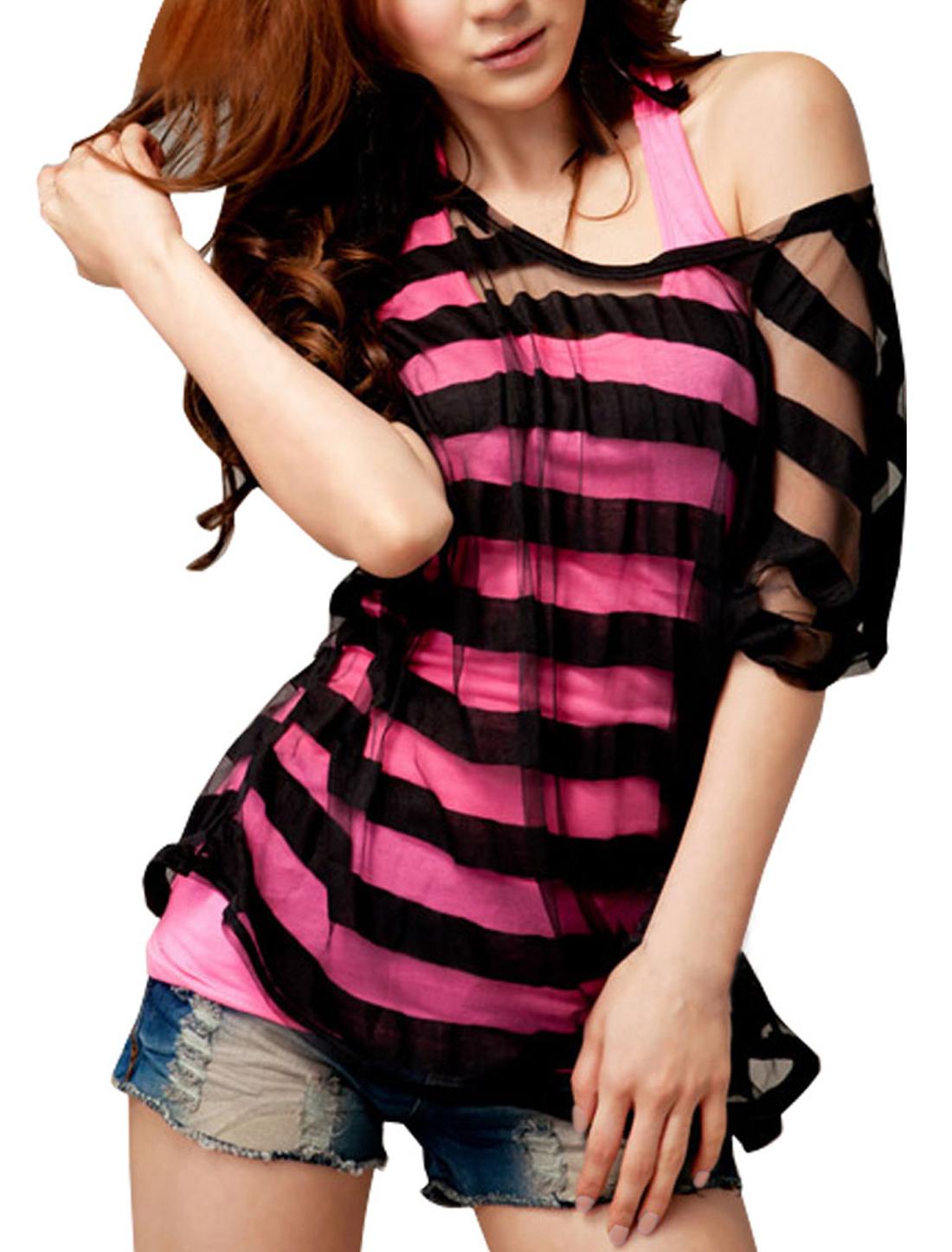 Woman Batwing Short Sleeve Shirt + Camisole Tank Top Black S