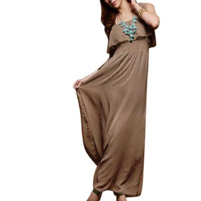 XS Khaki Smocked Waist Ruffled Chiffon Maxi Strap Dress for Lady