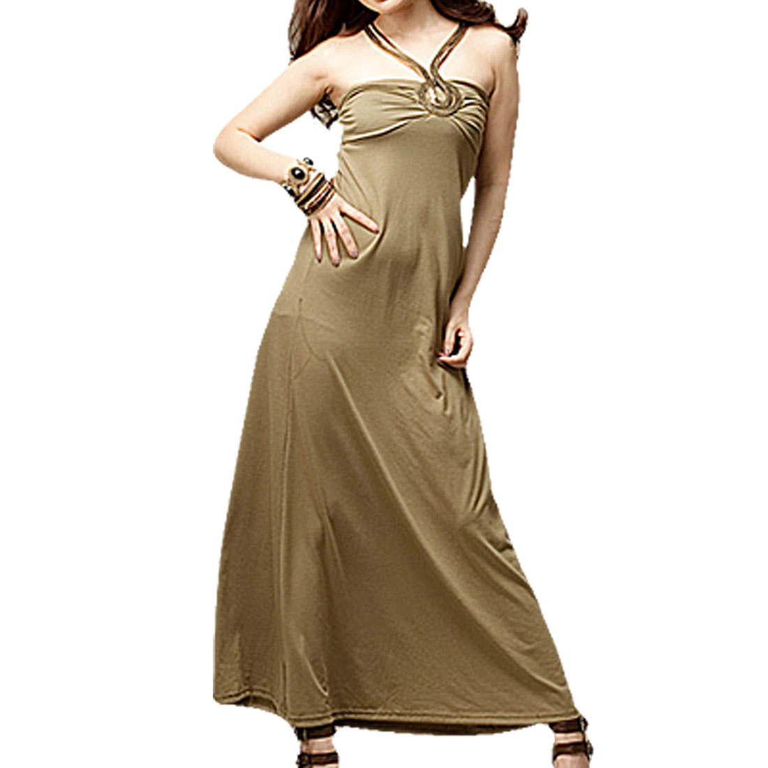Light Khaki Stretchy Necklace Maxi Dress for Ladies