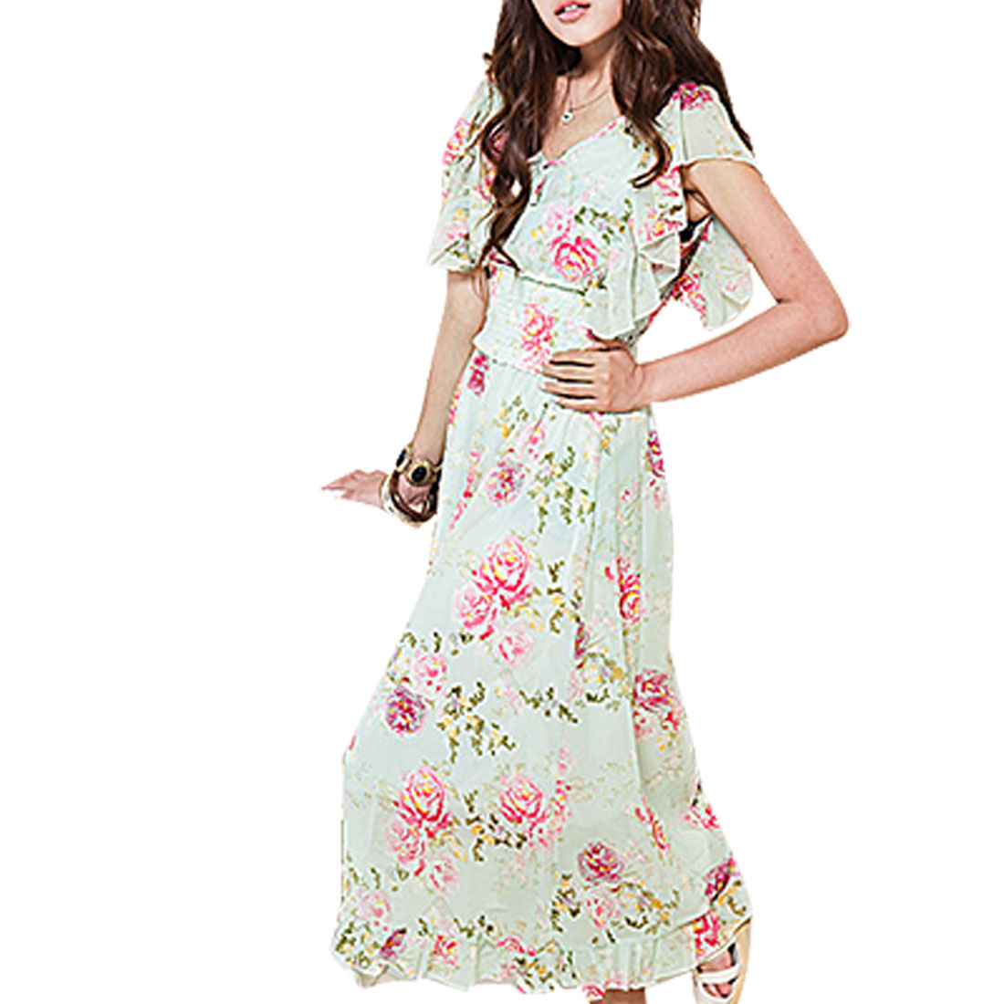 Ladies Flower Pattern Smocked Waist Ruffle Sleeves Dress Pale Green XS