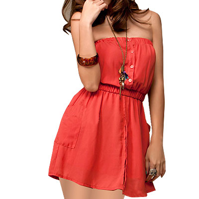 XS Salmon Pink Elastic Waist Button Detail Chiffon Tube Dress for Lady