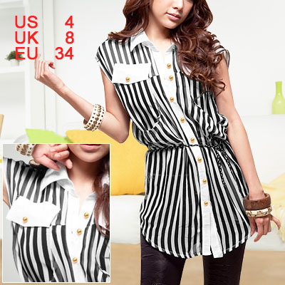 Woman White Black Sheerness Stripes Point Collar Shirt S
