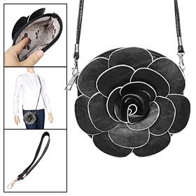 Black Detachable Wrist Strap Flower Style Round Clutch Purse for Lady