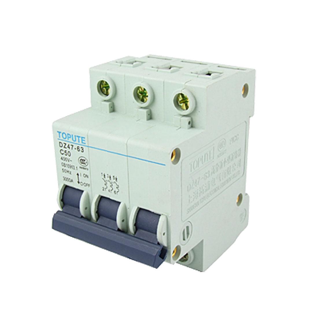 DZ47-63 C50 AC 400V 3P Miniature Circuit Breaker MCB