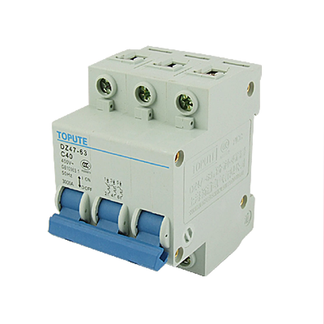 DZ47-63 C63 40A Three Poles AC 400V Mini Circuit Breaker