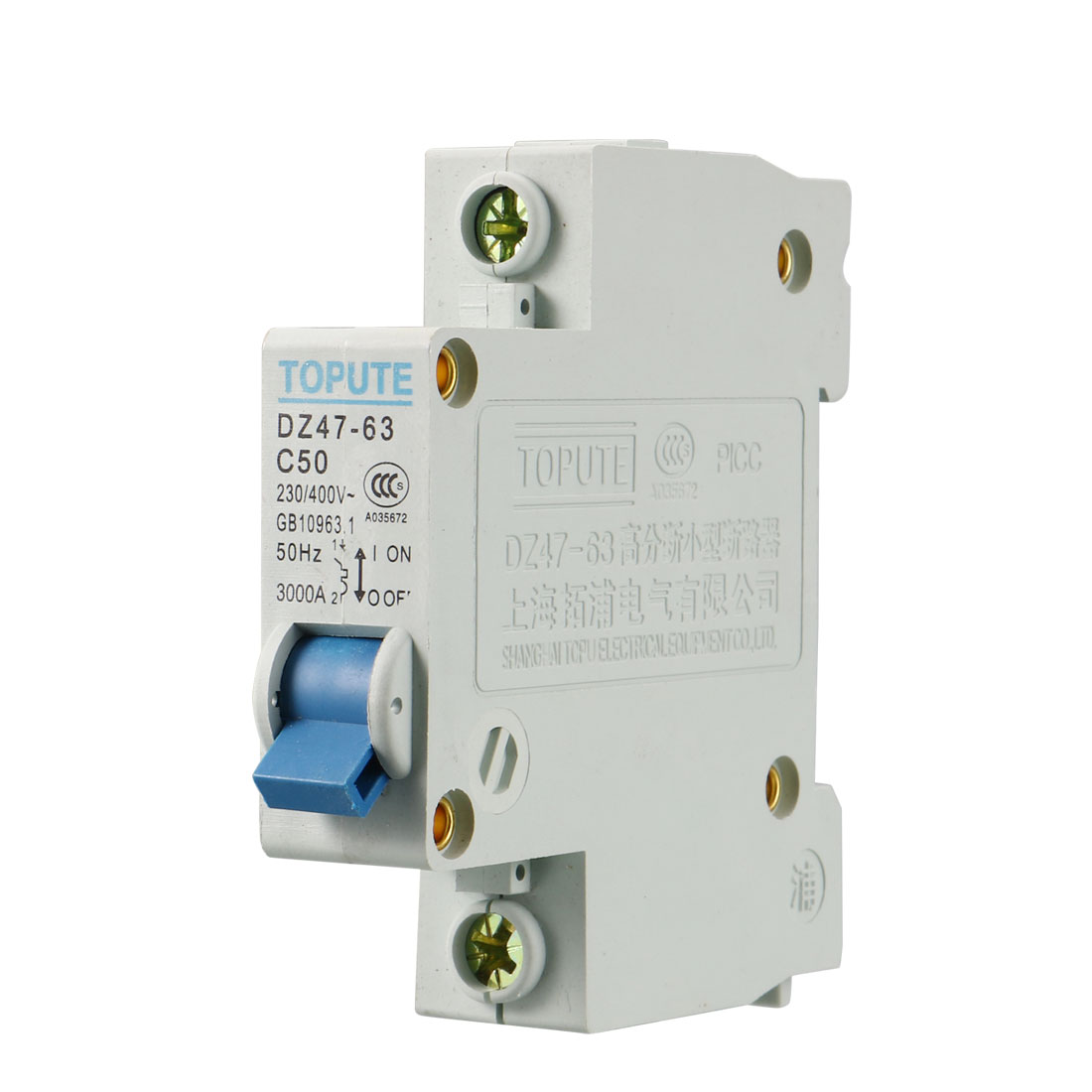Single Pole DZ47-63 C50 Mini Circuit Breaker Switch