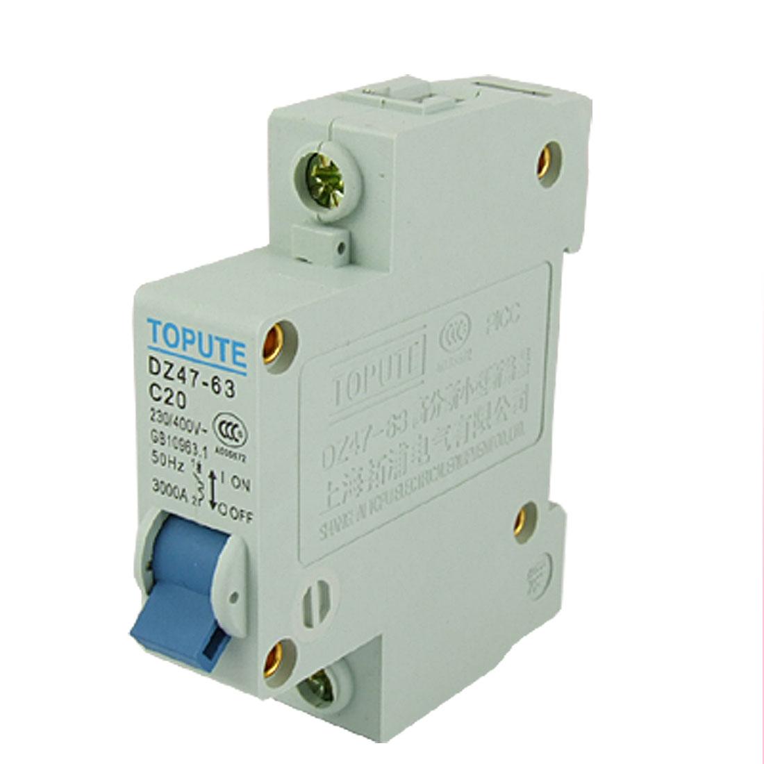 Single Pole Mini Circuit Breaker Auxiliary DZ47-63 C20